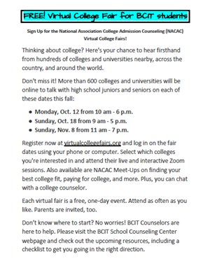 College Fair Dates