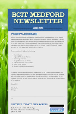 Click here to read this month's Principal's Newsletter
